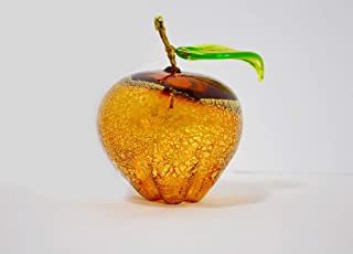 Murano Glass Hand Blown Amber Apple, Made in Italy