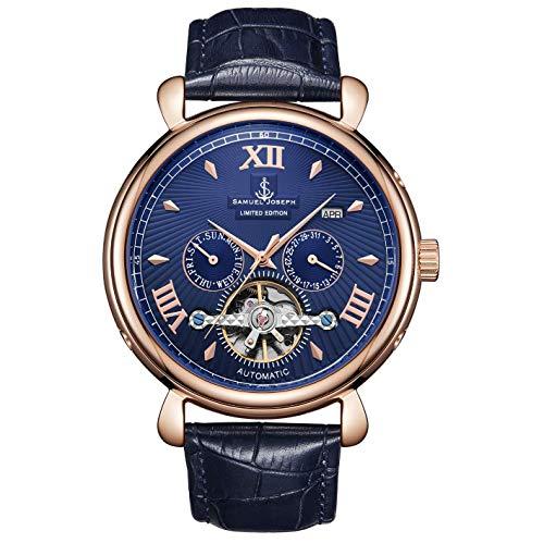 Samuel Joseph Limited Edition Rose & Blue Automatic Designer Heren Horloge - Met de hand gemonteerd - Skeleton Case, 20 Juwelen en Een Luxe Echt Lederen Band - Ronde Hoesje - Waterbestendig