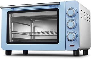 Toaster oven STBD PequeñO Horno DoméStico De 15L con Bandeja para Hornear Y Guantes Anti Escaldaduras, Temporizador De 60 Minutos, 4 Tubos Calefactores De Acero Inoxidable - 1200W Azul/Rosa