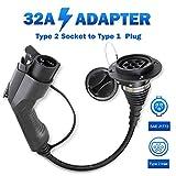 Morec EVSE Adaptador EV Cable de Carga para Vehículos Eléctricos Cargador (Convierte el Cargador Tipo 2 en Monofásico, Tipo 1, 32 A, IEC 62196-2 a SAE J1772) …