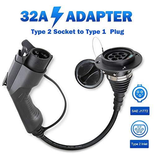 Morec EVSE Adaptador para Cable de Carga para Vehículos Eléctricos - Tipo 2 en Monofásico, Tipo 1, 32 A, IEC 62196-2 a SAE J1772