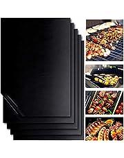 BingYouMi barbecuemat, 5 barbecuematten, gebruikt voor binnen en buiten antiaanbaklaag herbruikbaar en bakken mesh buiten barbecue gas houtskool elektrische barbecue plaat 40x33CM (vuurvast)