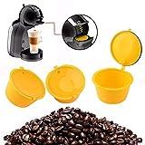 Usefull - Juego de 3 cápsulas de café rellenables de colores, cápsulas de café reciclables, con cepillo de cuchara para cafetera Nescafe Dolce Gusto (color: #3)