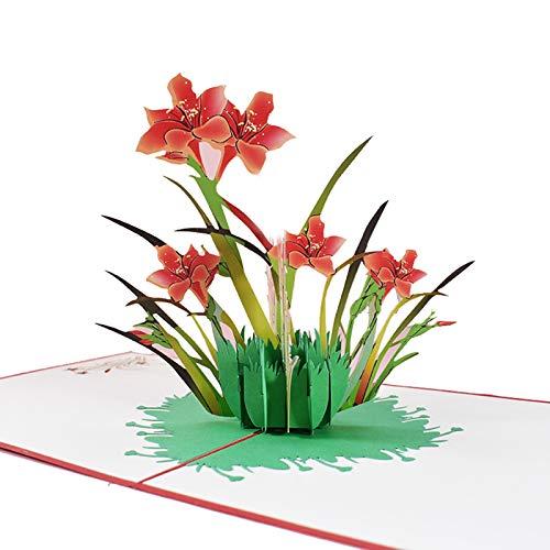 Bingdong Hecho a mano flor 3D Pop Up tarjeta de agradecimiento Tarjetas de Acción de Gracias Día de la Madre Tarjetas de regalo de felicitación con sobre para mamá