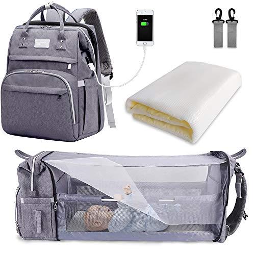 SNDMOR-Mochila para pañales de bebé de gran capacidad, para cuna de viaje, plegable, organizador de mochila para pañales de cuna multifuncional con cambiador de pañales(color gris)