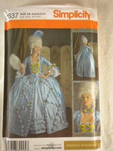 Simplicity OOP Disfraces Siglo XVIII 3637. Misses Szs 16; 18; 20; 22; 24Vestidos de Novia. deboah Woodbridge diseño