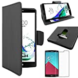ebestStar - Coque LG G4 H815, G4 Dual-LTE Etui PU Cuir Housse Portefeuille Porte-Cartes Support Stand, Noir + Film Protection...