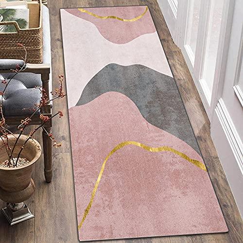 ZJXSNEH Tappeto Passatoia Vintage Corridoio Cucina Ingresso Geometria Tappeti Runner Antiscivolo Lavabile Rosa 40X180CM