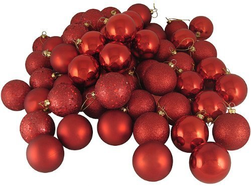 Christmas Ball Ornaments shatterproof,21pcs Mini red Satin Shiny and Glitter Finish Bulb (Red, 4cm)