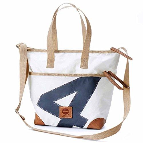 360° Deern Mini Henkeltasche Segeltuch, kleine Recycling Shopper Handtasche Damen, weiß, Zahl grau, Schultertasche Tragetasche Strandtasche Hobo Bag