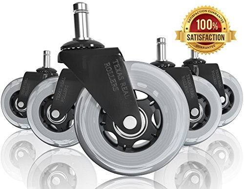 Office Chair Caster Wheels for Home Offices   Set of 5 Heavy Duty 3 In. Rollerblade Replacement Rubber Chair Casters   Perfect Substitute for Office Chair Mat on Hardwood Floor   Rolls Smoothly Quiet