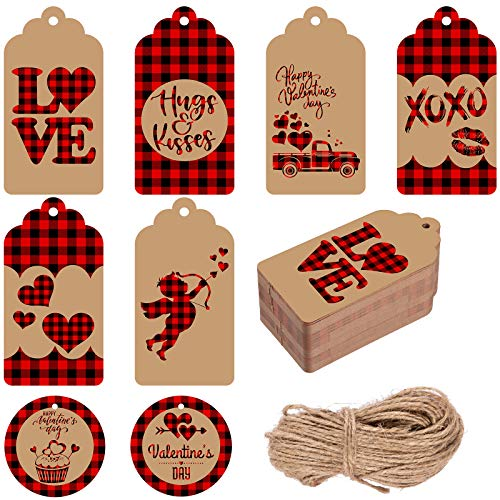 Whaline Valentine's Day Paper Gift Tags 8 Designs Red Black Plaid Heart Love Tags Rectangle & Round Hanging Labels with 66ft Twine for Wedding Anniversary DIY Gift Crafts Wedding Party Favor 120pcs