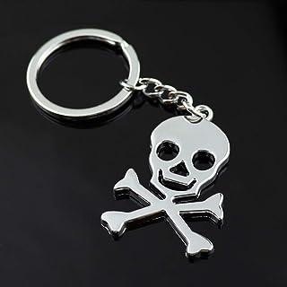 TOYANDONA 1pcs Skull Head Keychain Fashion Decoration Keyfob Car Keyring Purse Bag Pendant Keychain Creative Gift Silver