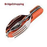 Bridge2shopping 3 in1 Function Eating Utensil Stainless Steel Multi-Tool Camping Folding Pocket Knife