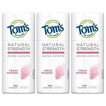 Tom s of Maine Natural Strength Plastic-Free Aluminum-Free Deodorant Fresh Powder 2 oz 3-Pack