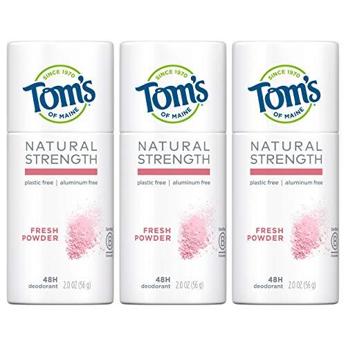 Tom's of Maine Natural Strength Plastic-Free Aluminum-Free Deodorant, Fresh Powder, 2 oz. 3-Pack