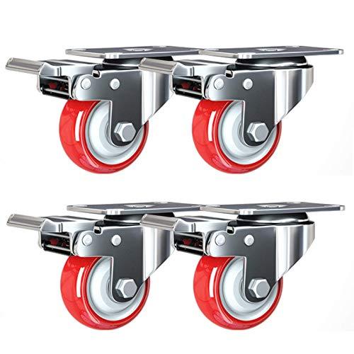 MFLASMF Ruedas giratorias de alta resistencia para muebles, ruedas giratorias de poliuretano, ruedas con placa, rodamientos de carga de 180 kg, 4 unidades (freno de 125 mm)