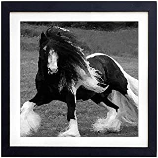 Gypsy Vanner Horse F5 - Art Print Black Wood Framed Wall Art Picture For Home Decoration - Black and White 14