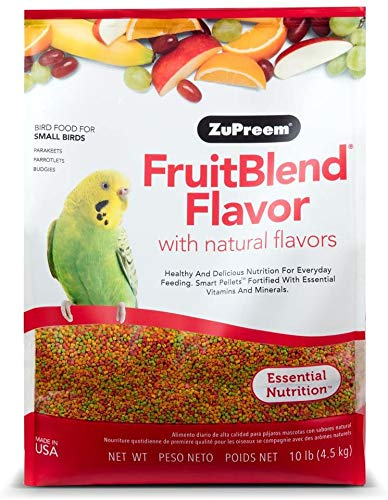 ZuPreem FruitBlend Flavor Pellets Bird Food for Small Birds - Powerful Pellets Made in USA, Naturally Flavored for Parakeets, Budgies, Parrotlets (10 lb Bag)