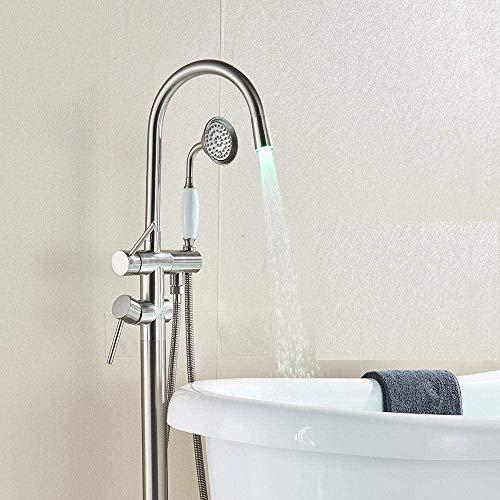 Grifo de bañera LED Grifo de bañera de baño Garra de baño Grifo de ducha de baño Grifo mezclador Caño giratorio Grifo montado en el piso Grúa Bronce negro Cepillado