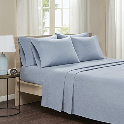 Comfort Spaces Cotton Flannel Breathable Warm Deep Pocket Sheets With Pillow Case Bedding, Queen, Solid Blue