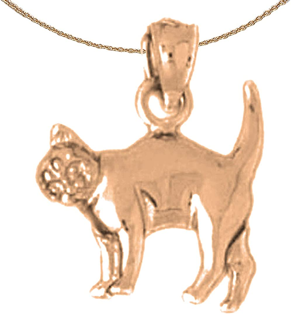 Jewels Obsession Cat New life Max 74% OFF Necklace 14K Gold 1 Rose with Pendant