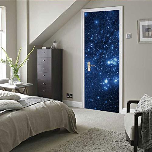 langlun Türposter Selbstklebend 3D,Türtapete Schöner Sternenhimmel,Gästezimmer Schlafzimmer Bücher Haus Fototapete Tür 90X200Cm