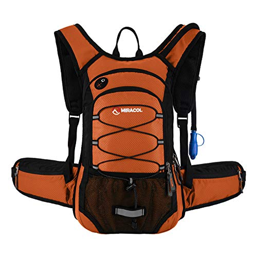 MIRACOL Hydration Backpack with 2L Water Bladder, Insulated Water Backpack Keeps Liquid Cool up to 4 Hours, Perfect Trail Gear Pack for Running, Canyon Hiking, Cycling, Camping, Biking