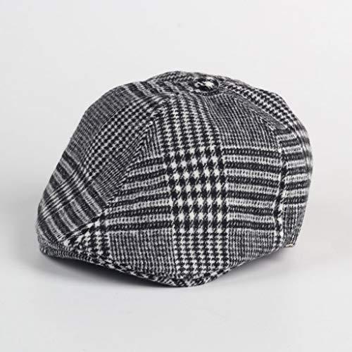ZYSWP MZWJTZKD Kinderhut, Kinder Kinder Jungen Barett Tweed Flachkappe Land Newsboy Baker Hüte (Color : Black)