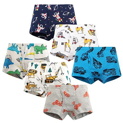 YoungSoul 6er Pack Boxershorts Jungen Unterhose Kinder Baumwolle Dinosaurier Autos Unterwäsche Modell 1/3-4 Jahre