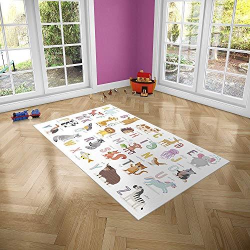 Oedim Alfombra Infantil Abecedario Animales para Habitaciones PVC | 95 x 165 cm | Moqueta PVC | Suelo vinílico | Decoración del Hogar | Suelo Sintasol | Suelo de Protección Infantil |