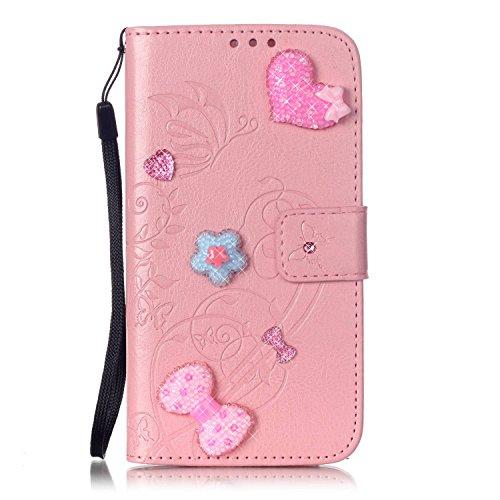 LG G4 Stylus LS770 Case, Everun [Card Slot] [Kickstand Feature] 3D Bling Crystal Handmade Diamond Leather Wallet Magnet Flip Folio Case for LG G4 Stylus / LS770