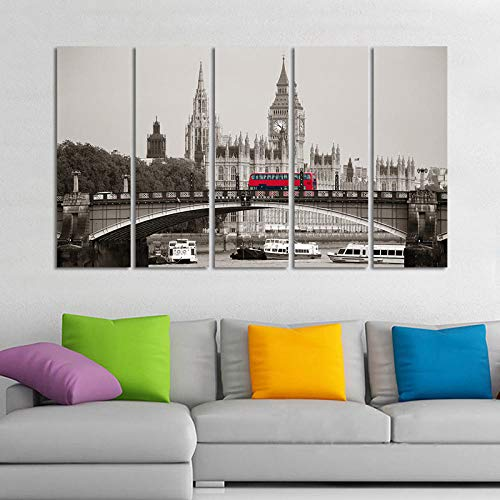 rkmaster-modulaire afbeelding canvasdruk 5 stuks van Londen City Council Building en Red Bus Lambeth Bridge landschapsschilderij decoratieve muurkunst