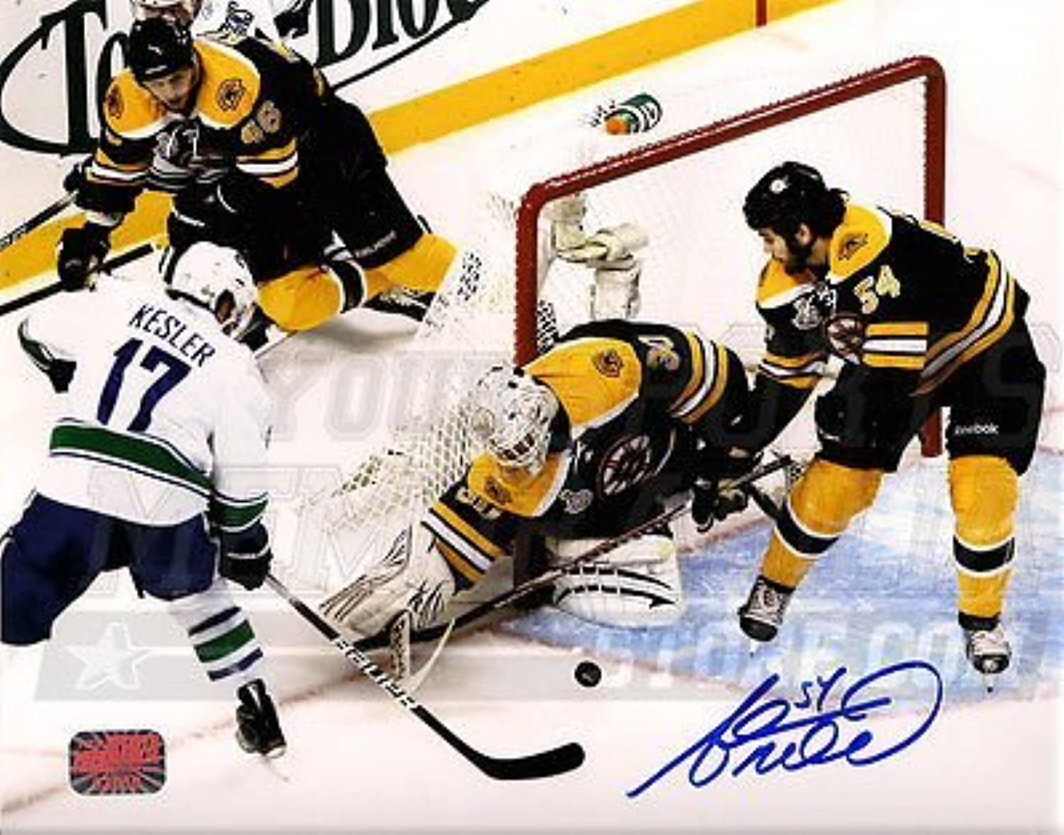 Adam McQuaid Boston Bruins Signed Stanley Cup Defense Action 8x10 Tim Thomas  A