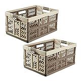 keeeper Ben Pack 2 Cajas robustas Plegables con Asas 45L, Crema/Marron, 45 Litros