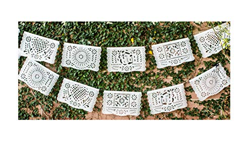 Papel Full of Wishes Medium Plastic White Papel Picado Banner - 12 Panels / 16 Feet Long Hanging - Ideal for Weddings, Baptisms, Birthdays, Posadas, Etc.