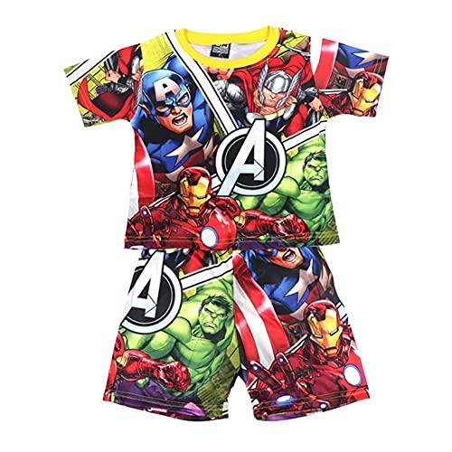 Towel Rings Pijama Niño Verano,Camiseta Infantil Capitán América + Pijama Corto Conjunto Niño Verano De Los Vengadores,Regalos para Niños(3~8) Años