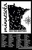 Minnesota State Parks Checklist Map 11x17 Black Background