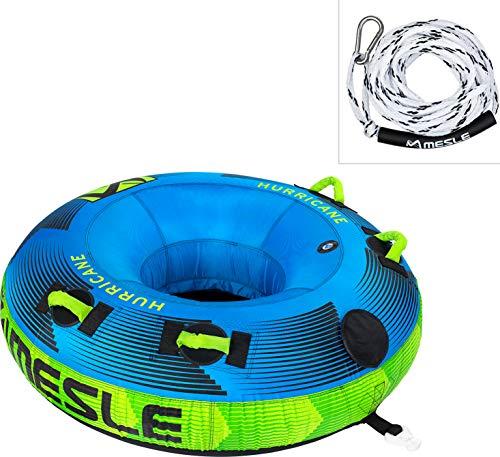 MESLE Tube Set Hurricane 58'' mit Leine, 1-2 Personen, Towable Donut Fun-Tube, aufblasbarer Schlepp-Reifen zum Ziehen, für Kinder & Erwachsene, Wasser-Sport Schlepp-Ring, Motor-Boot & Jet-Ski