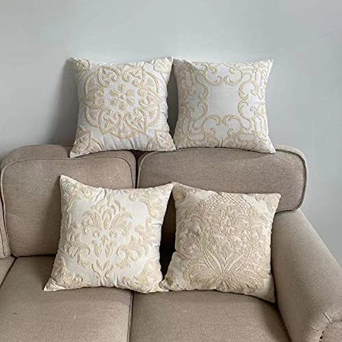 XYZU Fundas de Cojín, Fundas para Cojines,Cojines para Sofa con Cremallera Invisible Funda de Cojín para sofá Dormitorio CocheSet de Almohada de algodón Bordado Beige 4pcs-1_50 * 50cm
