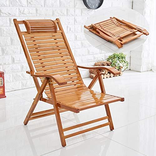 HOLITU Plegable Silla Jardin Tumbona Inclinable,Gravedad Cero Ajustable Verano Exterior sillas de Playa Silla de Camping reclinable de bambú Tumbonas,A