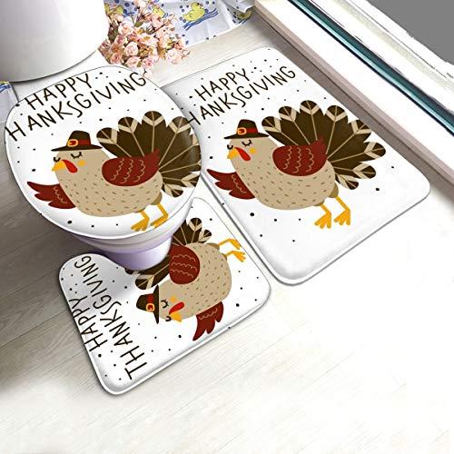 N/R Thanksgiving-groet met schattig Turkije U-vormige wc 3-delige badmat set badkamertapijten tapijtmatten antislip voor indoor contour tapijt op maat