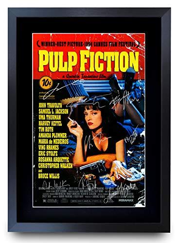 HWC Trading Pulp Fiction The Cast Bruce Willis Samuel L Jackson Gifts Poster Stampato autografo per i Fan del Film Memorabilia – A3 incorniciato