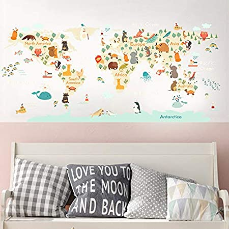Multicolor H2MTOOL Animal Educational World Map Baby Wall Decals Stickers for Kids Nursery Room Decor Peel and Stick