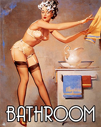 Bathroom Pinup shampoo in face Pin-up Girl METAL 6x8inch Wall Sign Plaque Vintage Retro poster art picture print by Chill