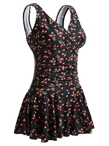 Summer Mae Damen Badekleid Plus Size Geblümt Figurformender Einteiler Badeanzug Swimsuit Schwarz mit Kirsche (EU Size 42-44)-L