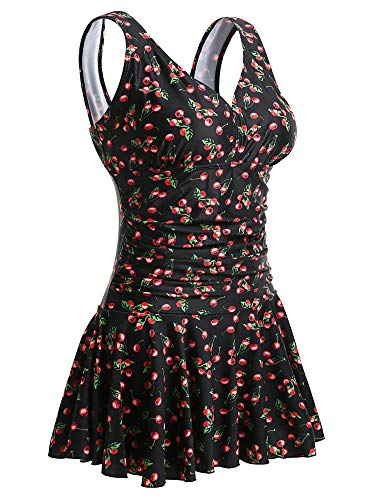 MiYang Women's Plus-Size Flower Printing Shaping Body One Piece Swim Dresses Swimsuit Black Cherry XXXX-Large(US 26W-28W)