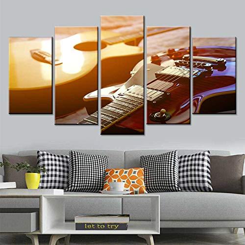 BailongXiao HD Musik Poster Kunst Wandmalerei 5 Klassische Gitarre Leinwand Ölgemälde Wohnzimmer Wohnkultur,Rahmenlose MalereiCJX3733-20x35cmx2, 20x45cmx2, 20x55cmx1