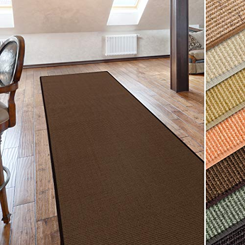 casa pura Sisal Teppich/Läufer | Uni braun | Naturfaser | Qualitätsprodukt aus Deutschland | kombinierbar mit Stufenmatten | 19 Breiten und 27 Längen (66x200 cm)
