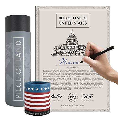 happylandgifts® Due proprietà a New York e in California Certificato di proprietà con Il Nome Desiderato per registrarsi | Regali di Compleanno | Regali di Compleanno
